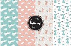 Set of childish patterns with cute rabbits Royalty Free Stock Photography