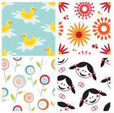 Set of childish seamless patterns Stock Photo