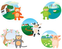 Set of children. Of animals disguised as suits. Part 1 Royalty Free Stock Images