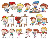 A set of children and activities royalty free illustration