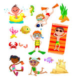 Set of Children on the beach Stock Photo