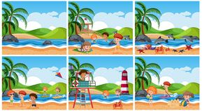 Set of children at beach scene. Illustration royalty free illustration