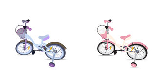Set of Children Bicycle. Isolated Stock Image