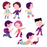 Set of children, boys and girls. For different actions, flat illustration Royalty Free Stock Images
