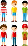 Set of children boys icons. Сhildren avatars in colorful style Royalty Free Stock Photo