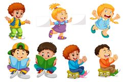 Set of children character. Illustration stock illustration