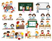 Set of children in classroom scenes. Illustration royalty free illustration