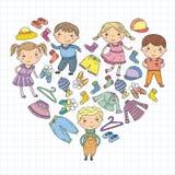 Set of Children clothing. Vector icons. Kindergarten. Nursery. Atelier. School clothing. Summer clothing. Kids store. Set of Children clothing. Vector icons Royalty Free Stock Photos