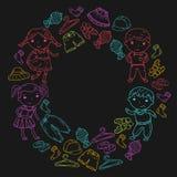 Set of Children clothing. Vector icons. Kindergarten. Nursery. Atelier. School clothing. Summer clothing. Kids store. Set of Children clothing. Vector icons Royalty Free Stock Photo