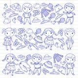 Set of Children clothing. Vector icons. Kindergarten. Nursery. Atelier. School clothing. Summer clothing. Kids store. Set of Children clothing. Vector icons Stock Photo