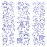 Set of Children clothing. Vector icons. Kindergarten. Nursery. Atelier. School clothing. Summer clothing. Kids store Stock Image