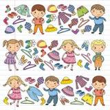 Set of Children clothing. Vector icons. Kindergarten. Nursery. Atelier. School clothing. Summer clothing. Kids store. Set of Children clothing. Vector icons Stock Images