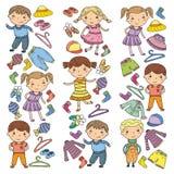 Set of Children clothing. Vector icons. Kindergarten. Nursery. Atelier. School clothing. Summer clothing. Kids store. Set of Children clothing. Vector icons Stock Image