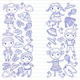 Set of Children clothing. Vector icons. Kindergarten. Nursery. Atelier. School clothing. Summer clothing. Kids store. Set of Children clothing. Vector icons Stock Photos