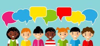 Set of children with colorful dialog speech bubbles Stock Photos