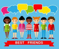 Set of children with colorful dialog speech bubbles Stock Images
