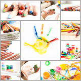 Set of children creativity Stock Photos