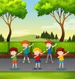 Set of children dabbing in park. Illustration royalty free illustration