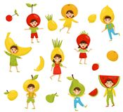 Flat vector set of children in different fruit hats. Cartoon kids characters in colorful costumes. Kindergarten theme stock illustration