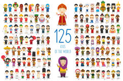 Set of 125 children of different nationalities in cartoon style. Royalty Free Stock Image