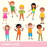 Set of children of different nationalities in various poses laughing and having fun. Set of children of different nationalities in various poses laug stock vector illustration