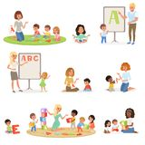 Set of children doing speech therapy with teachers. Child development center. Kids alphabet letters through play. Educational game concept. Flat vector design Stock Photography