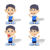 Set of children eating candy, give a thumb, angry, and smile vector illustration Stock Image