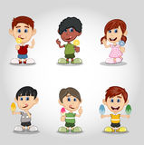 Set of children eating candy and ice cream cartoon Stock Images
