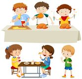 A Set of Children Eating. Illustration royalty free illustration