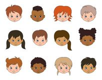 Set Children Faces Of Different Races, Multicultural Kids Heads Royalty Free Stock Photos