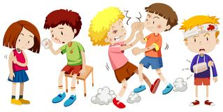 A Set of Children Get Pain. Illustration stock illustration