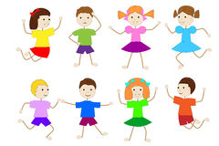Set of children of girls and boys on a white background Royalty Free Stock Image