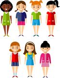 Set of children girls icons. Сhildren avatars in colorful style Stock Photo