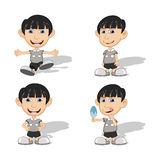 Set of children give a smile, waving and eating ice cream vector illustrationing Royalty Free Stock Photo