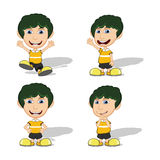 Set of children give a smile, waving and running vector illustration Stock Images