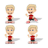 Set of children give a smile, waving and running vector illustration Stock Image