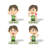 Set of children give a smile, yelling, waving and eating ice cream vector illustration Royalty Free Stock Photos