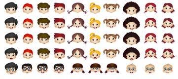 Set of children head cartoon Stock Images