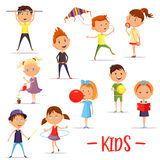 Set of  children or kids at their activity. Set of  boys and girls playing using hula hoop and kite, balloon and bool, schoolboy using sport horizontal bar and Royalty Free Stock Image