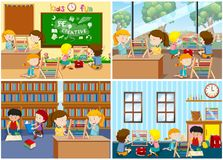 A Set of Children Learning Abacus. Illustration royalty free illustration