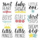 Set of 9 children logo with handwriting Little prince, princess, Boys, Girls, Sweet heart, Baby shower. First steps. Dream big Little one. Kids background Stock Photos