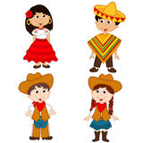 Set of  children of Mexican and cowboy nationalities. Vector illustration, eps Stock Images