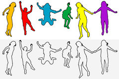 Set of children outline silhouettes jumping Royalty Free Stock Images