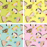 Set of children pattern with kids Stock Photography