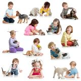 Set of children with pets dogs, cats, rat. Set of children babies kids with pets on white royalty free stock photo
