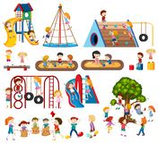 Set of children at playground vector illustration