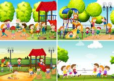 A Set of Children at Playground stock illustration