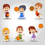 Set of children playing basketball cartoon Royalty Free Stock Photos