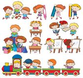Set of children playing and doing activities Royalty Free Stock Photography