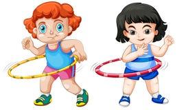 Set of children playing hula hoop